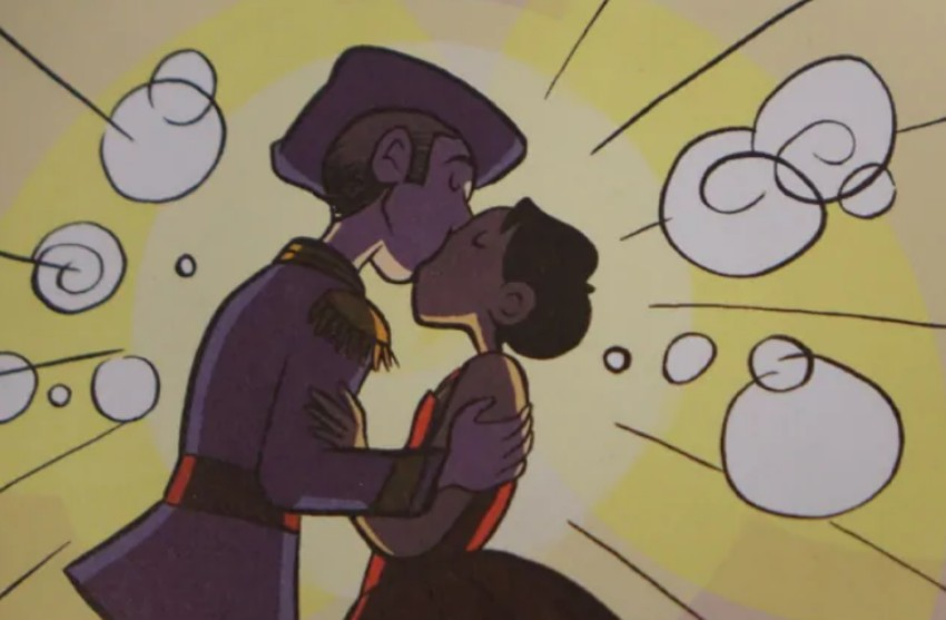 a cartoon image of two boys kissing
