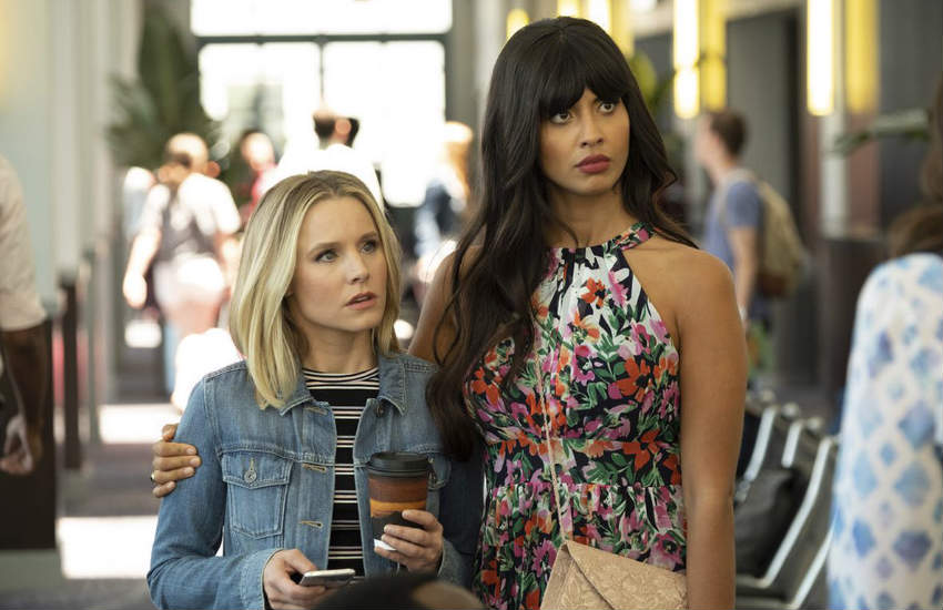 Kristen Bell and Jameela Jamil hugging in a scene of The Good Place.