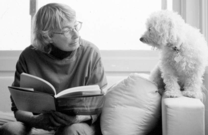 Mary Oliver and her dog.