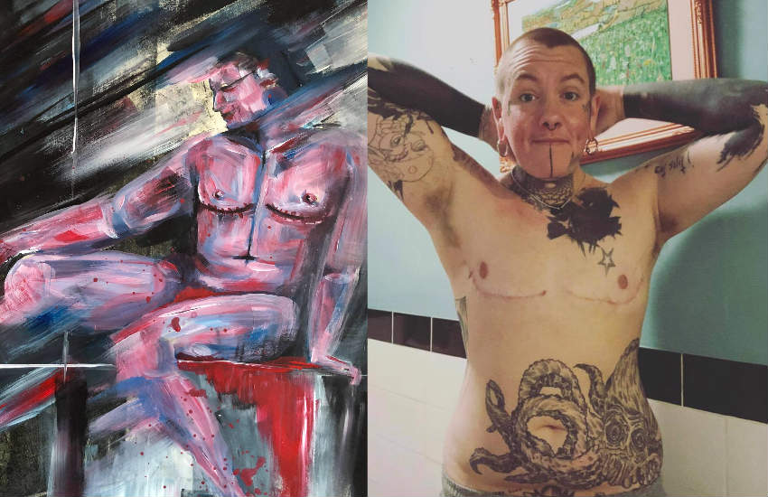 A portrait by trans artist Samo White and a picture of them showing their post top surgery chest scars.