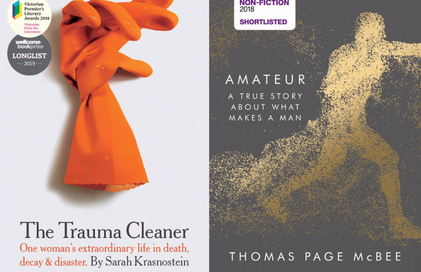 Two front covers of books. The left is of The Trauma Cleaner, with a pair of orange rubber gloves on the cover. On the right is Amateur, that has a graphic of a figure running make of dusty, yellow points.