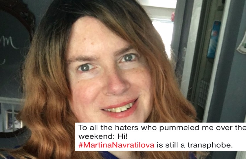 Managing editor of Out Sports, Dawn Ennis, with a tweet she made about Martina Navratilova