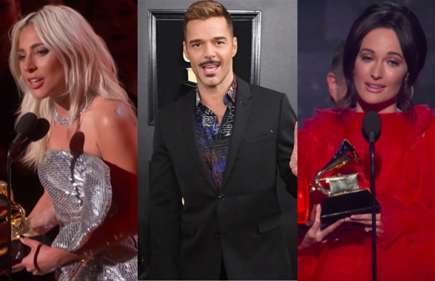 Lady Gaga, Ricky Martin and Kacey Musgraves at the 2019 Grammy Awards