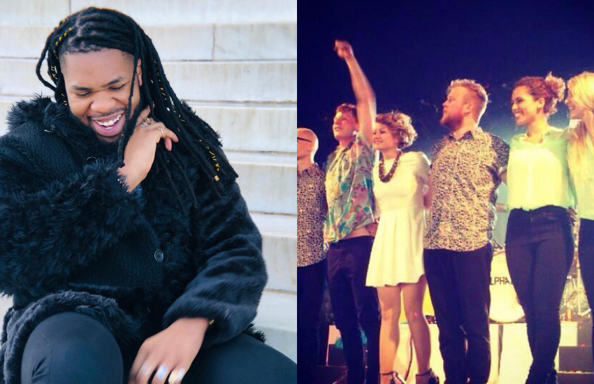 On the left, MNEK, and the right, Alphabeat