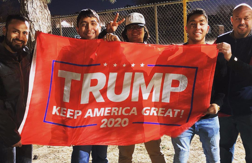 Johnny Alcantar (second from right) posted a photo of him attending a pro-Trump rally in Mexic