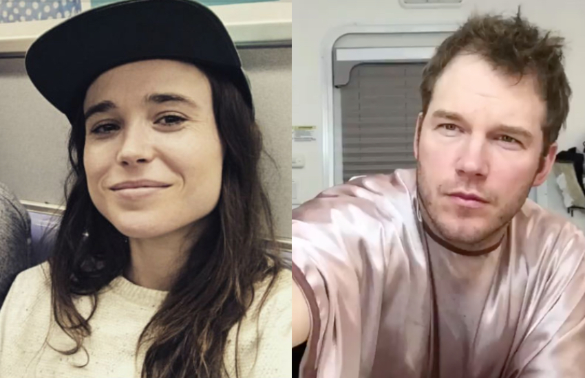 Selfies of actors Ellen Page, left, and Chris Pratt, right