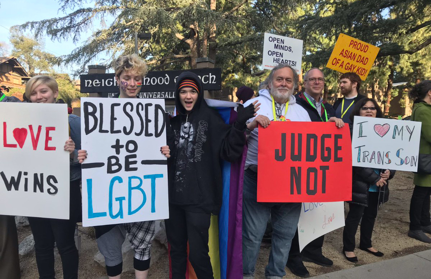 A pro-LGBTI protest outside of a Californian high school
