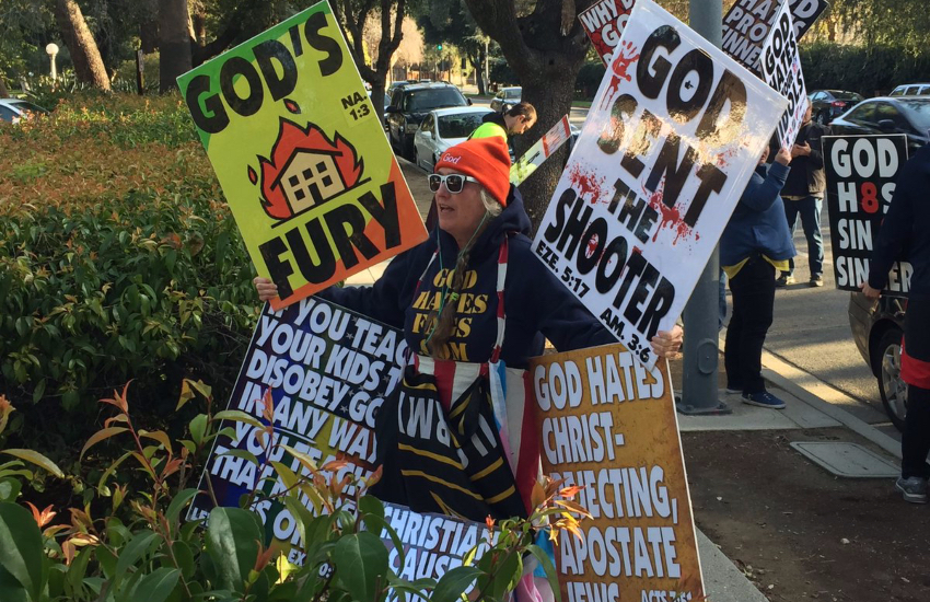 An anti-LGBTI protest outside of a Californian high school