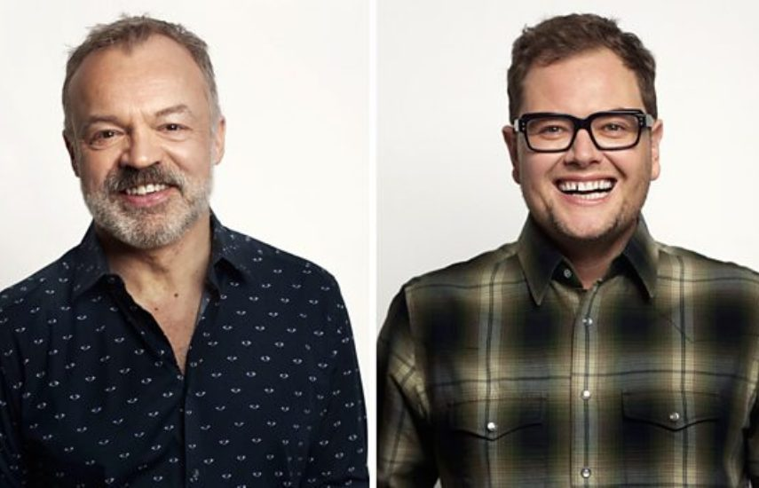 two headshots of graham norton on the left, he is wearing a dark shirt and smiling at the camera and alan car on the right who is wearing a plaid shirt and eyeglasses