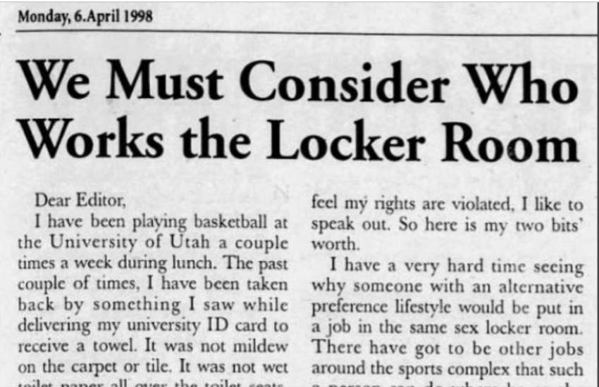 A letter to the editor of The Daily Utah Chronicle in 1998.