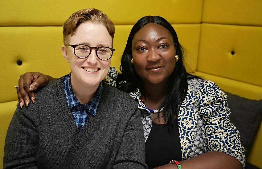 Former Stonewall Chief Executive Ruth Hunt and Executive Director of UK Black Pride Phyll Opoku-Gyimah, after signing the partnership agreement.