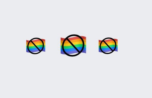 three emojis over a grey background which all feature a small pride flag with a black strikethrough symbol through it