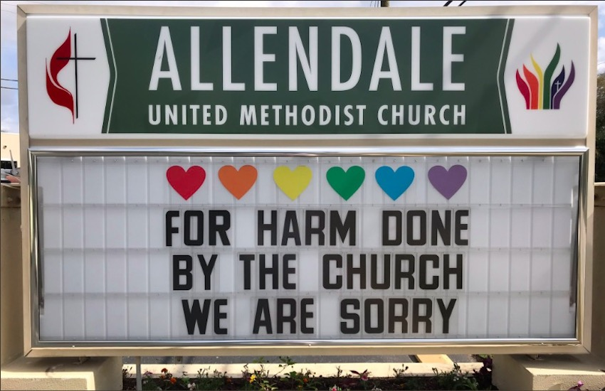 The sign outside Allendale's UMC, apologizing to the LGBTI community on behalf of the Church