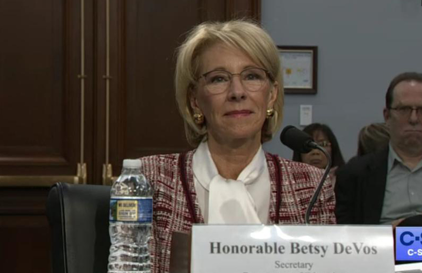 Betsy DeVos answers questions in the House (Photo: Twitter)