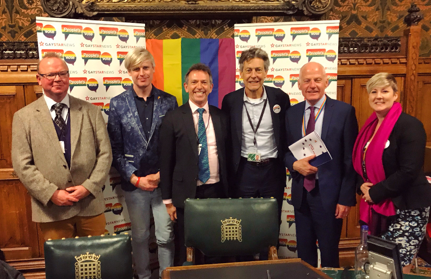 Gay Star News editor-in-chief Tris Reid-Smith (second from left) with fellow pro-people's vote panelists