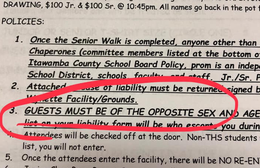 Mississippi high school bans same-sex partners from prom (Photo: Jack McCrory / Facebook)