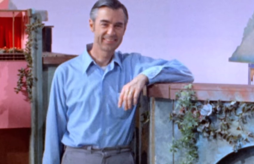 Mr. Rogers on the set of his children's show