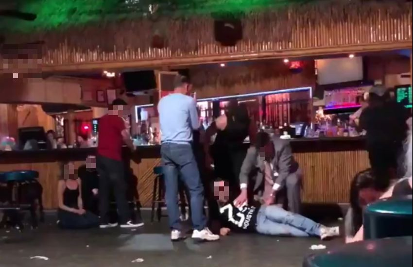 Amateur footage of the incident, with one victim lying on the Palm Springs bar floor