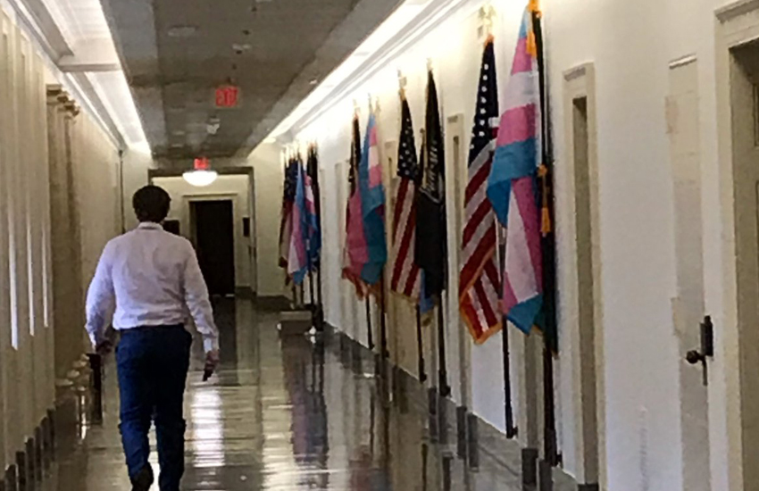 US politicians flying trans pride flag outside their offices (Photo: Twitter)