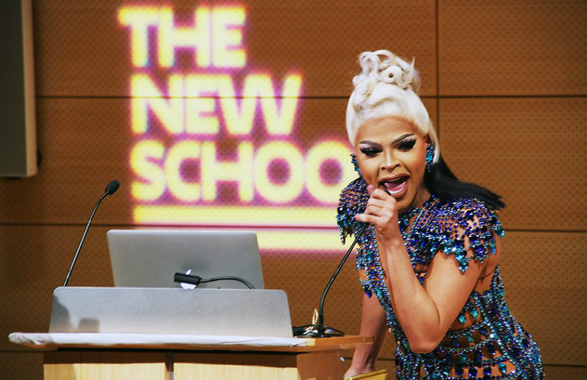 Miss Vanjie addresses college students at The New School (photo by Ves Pitts)