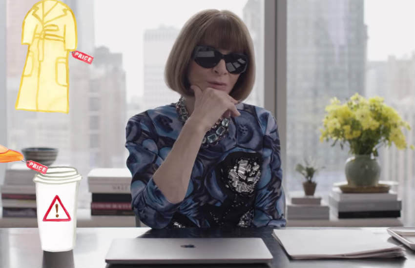 Anna Wintour at her desk.