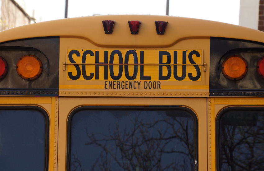The front of an American yellow school bus