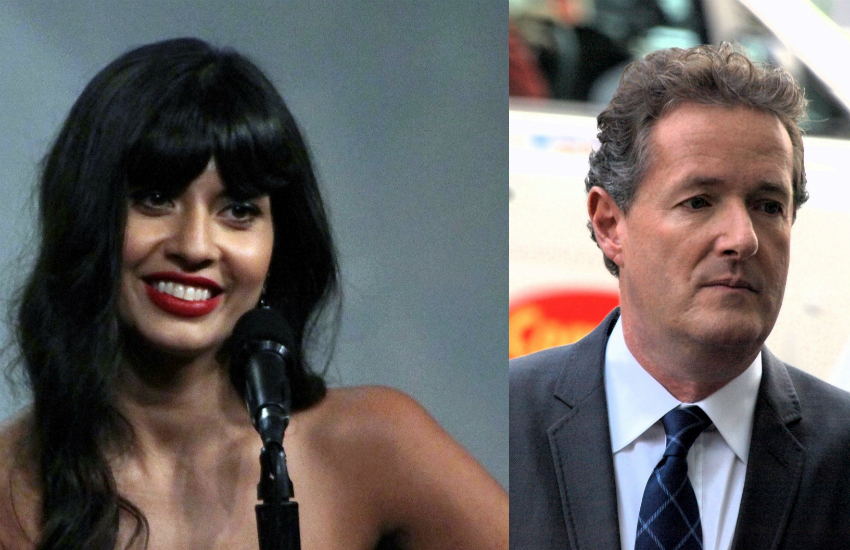Jameela Jamil (left) and Piers Morgan. (Photos: Wikimedia Commons)