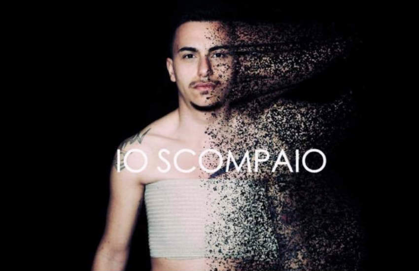 A poster for the campaign 'Io scompaio' (I'm disappearing) features a trans man.