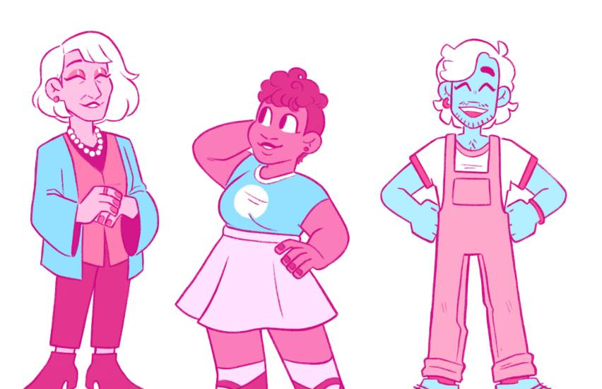 a cartoon of different trans people in the colour of the trans pride flag