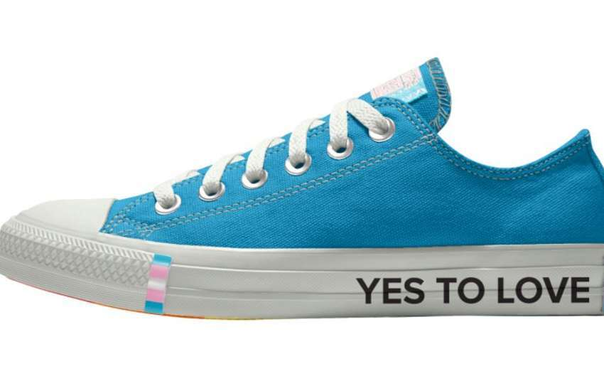 One ofthe new trans pride Converse shoes