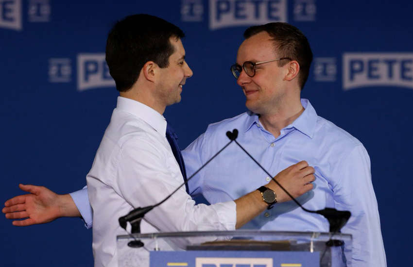 Pete Buttigieg embraces his husband as he announced White House bid president (Photo: Twitter)