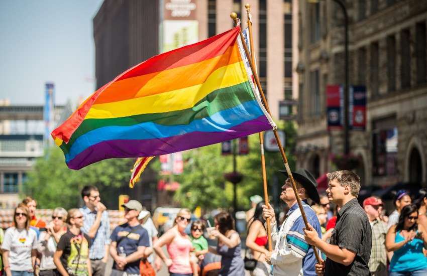 A rainbow flag flies at Twin Cities Pride in Minnesota