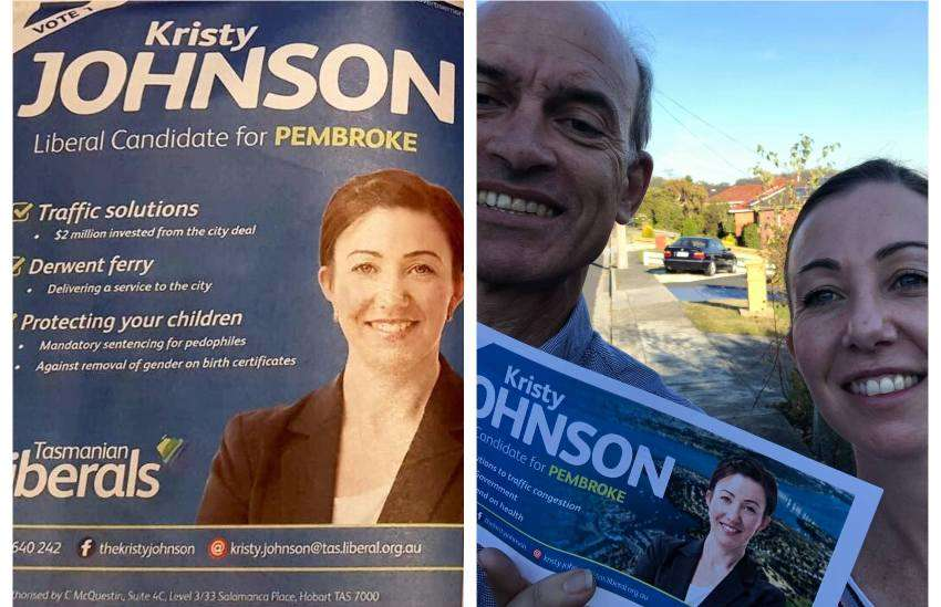 two photos. the one on the left is a flyer for an election campaign. on the right is a man and woman standing outside holding the flyer