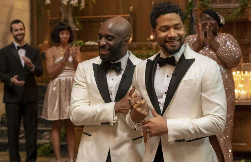 Jussie Smollet (right) as Jamal Lyon, marrying Kai Givens (Toby Onwumere) on Empire