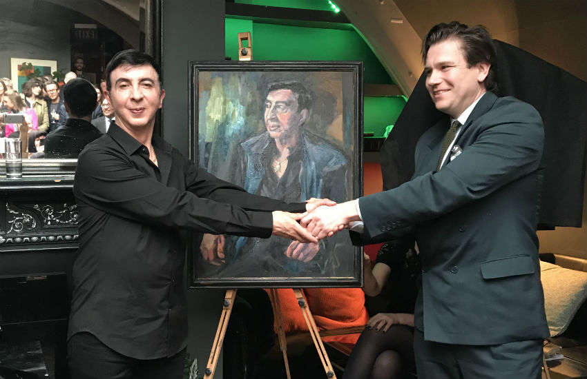 Marc Almond and artist Dan Llywelyn Hall at L'Escargot, Soho, London