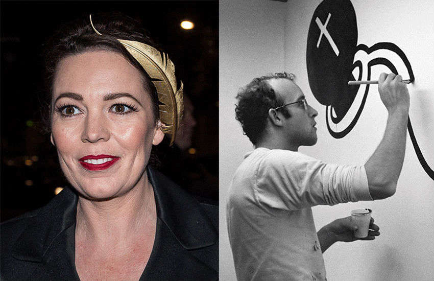 Olivia Colman and Keith Haring | Photos: Wiki