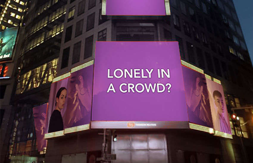 How one of the billboards in Times Square, New York City, will appear