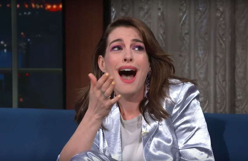 Anne Hathaway is very excited to meet RuPaul | Photo: Late Night with Stephen Colbert