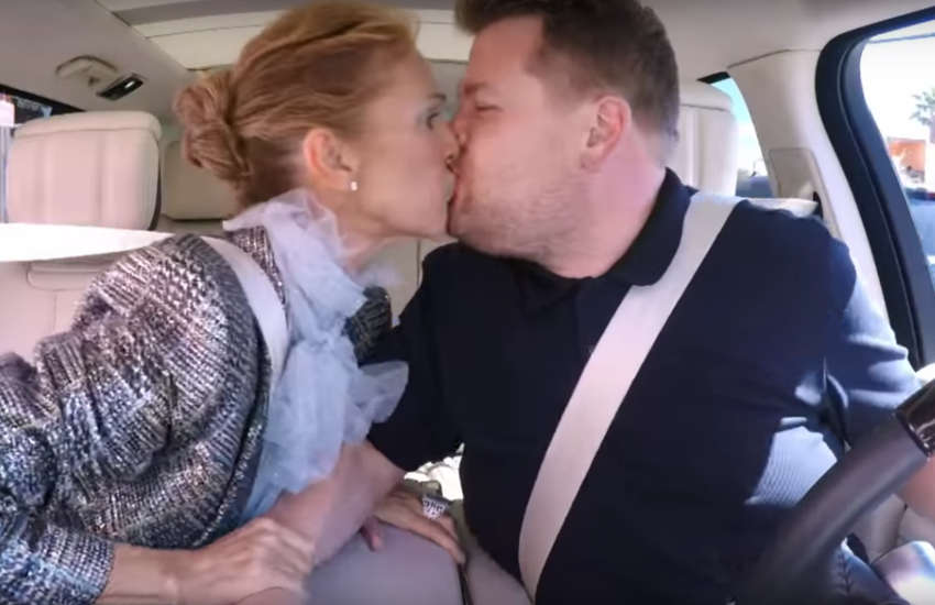 Celine Dion and James Corden share kiss in Carpool Karaoke