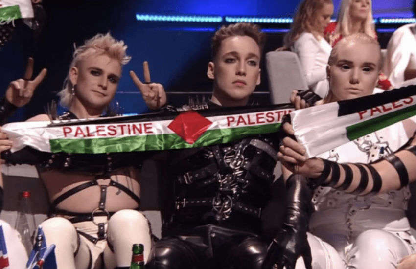Hatari holds up Palestine flags | Photo: Eurovision Song Contest