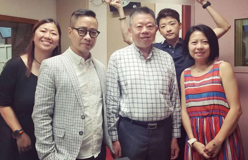 Hong Kong equalities chairman Ricky Chu (middle in check shirt) on Brian Leung (wearing blazer)'s radio show (Photo: Facebook)
