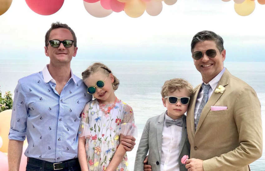 Neil Patrick Harris, Harper Grace, Gideon Scott and David Burtka