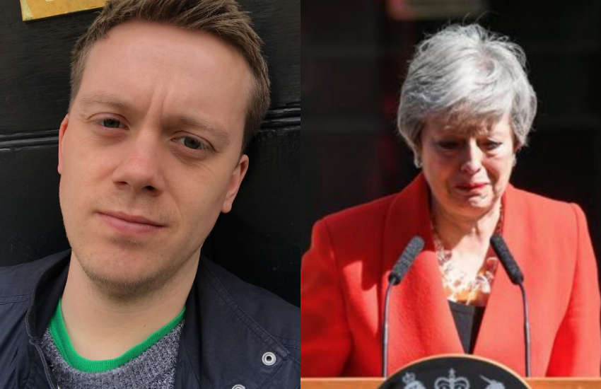 Owen Jones and Theresa May.