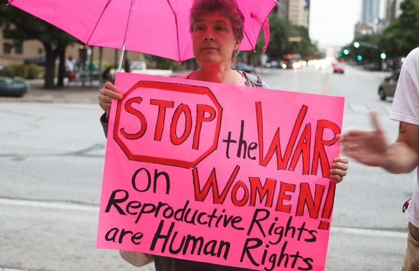Pro-choice protester against restrictive abortion laws