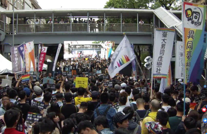 Same-sex marriage supporters gather outside Taiwan's parliament (Photo: Facebook)