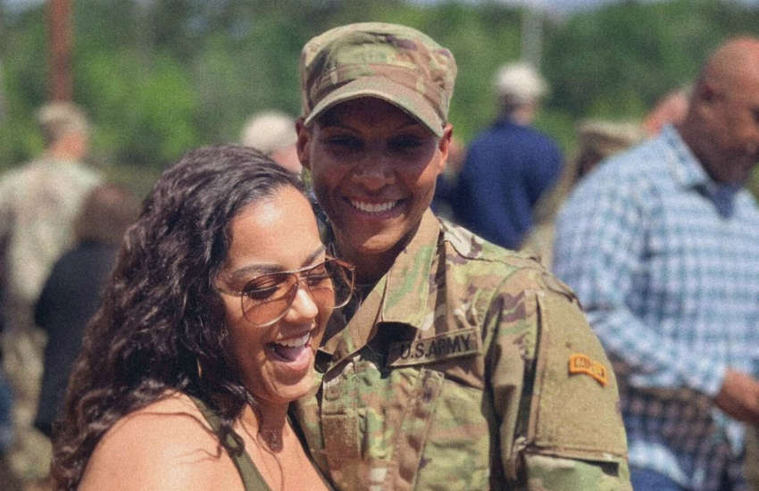 Janina Simmons (right) with her girlfriend at her Ranger School graduation