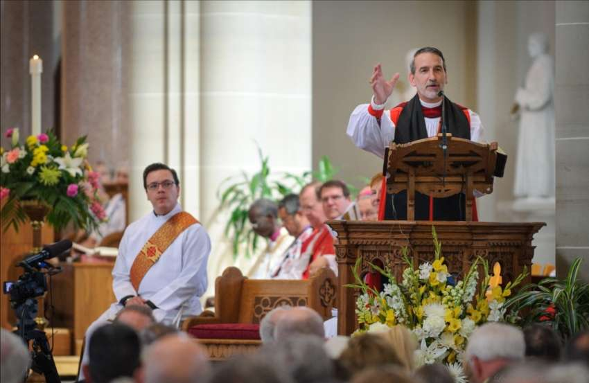 a bishop giving a sermon at the pulpit