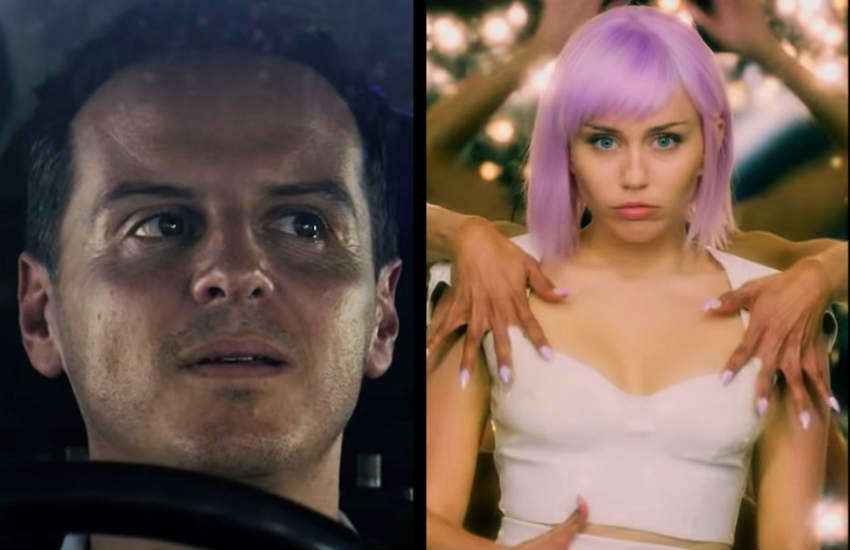 Andrew Scott and Miley Cyrus in season five of Black Mirror.