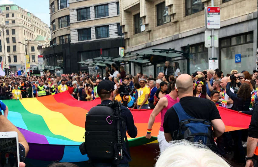 Crowd and police at Belgian Pride 2019.