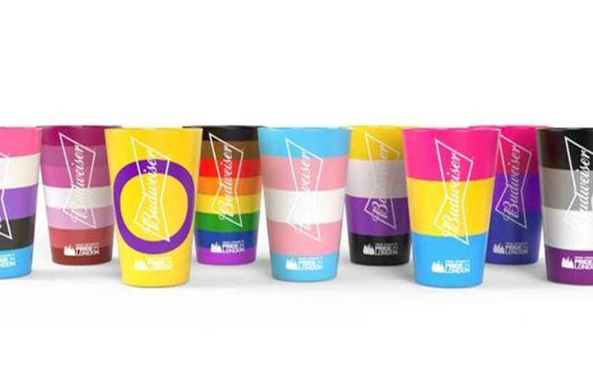 Budweiser Pride cups in nine different color palettes